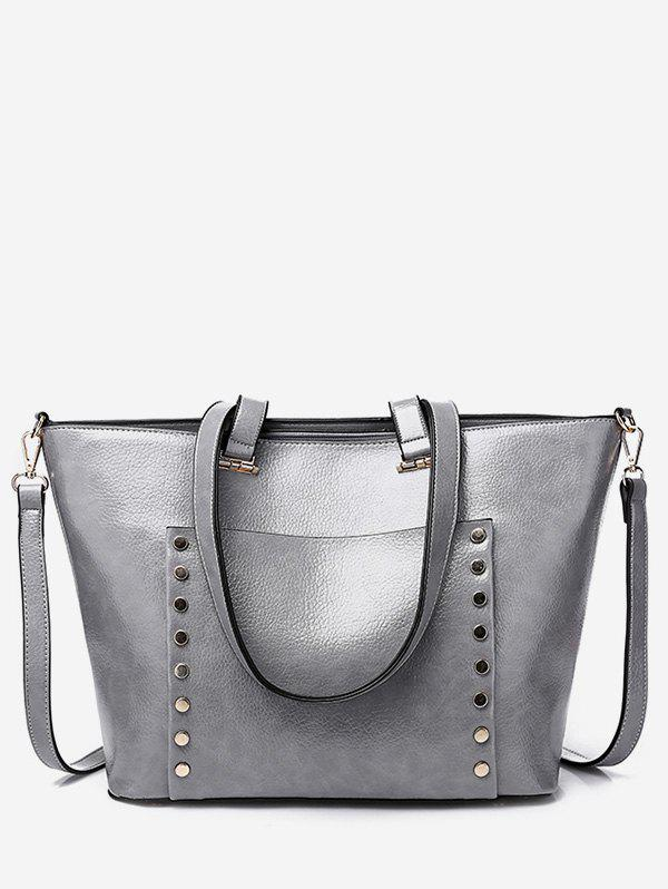 Hot Studs Chic Faux Leather Shoulder Bag with Strap