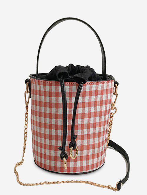 Outfits Bucket Shaped Plaid Metal Chain Tote Bag