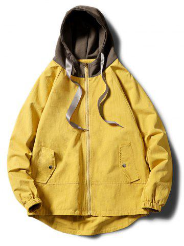 Contrast Zip Up Side Pockets Hem Curved Hooded Jacket