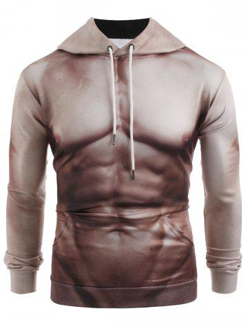 Funny 3D Muscle Print Pullover Casual Hoodie - CAMEL BROWN - XS