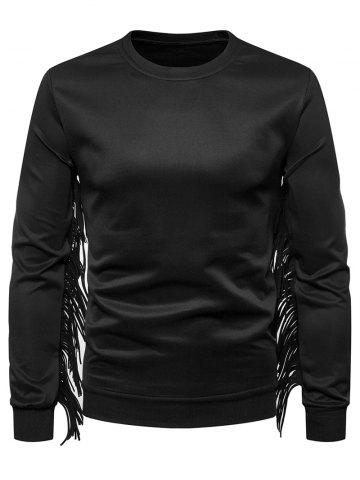 Fringe Long Sleeve Solid Color Sweatshirt