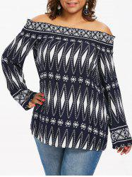 Plus Size Geometric Off Shoulder Blouse -