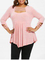 Ladder Cut Out Plus Size A Line T-shirt -