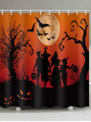 Halloween Moon Family Print Waterproof Bathroom Shower Curtain -