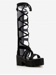 Lace Up Platform Retro Sandals -