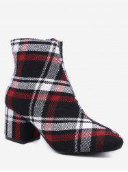 Plaid Block Heel Short Boots -