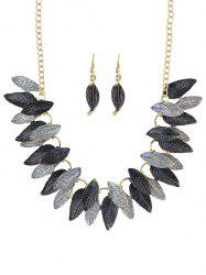 Leaves Decoration Chain Necklace Earrings Set -