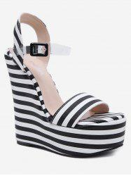 Ankle Wrap Wedge Heel Striped Sandals -