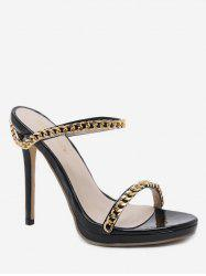 Metal Chain Chic Stiletto Heel Sandals -