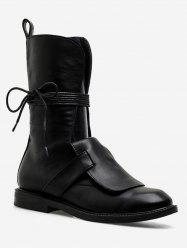 Low Heel Hollow Out Mid Calf Boots -