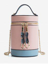 Color Block Chic Round Tote Bag with Chain -