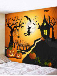 Wall Hanging Art Halloween Moon Castle Print Tapestry -