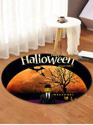 Halloween Moon Tree Pattern Anti-skid Round Floor Rug -