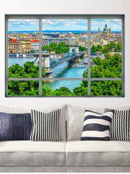 City Scene Window Print Removable Wall Sticker -