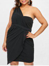One Shoulder Plus Size Draped Party Dress -