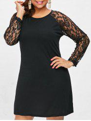Plus Size Long Sleeve Shift Dress with Lace -