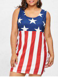 Plus Size American Flag Sleeveless Strappy Dress -