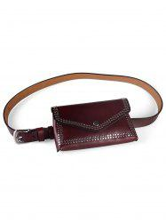 Rivets Funny Bag Faux Leather Phone Card Belt Bag -
