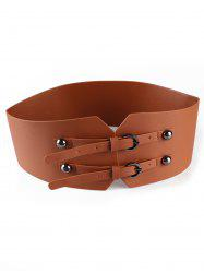 Vintage Double Headed Buckle Leather High Waist Belt -