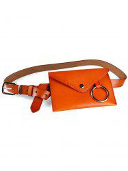 Metal Ring Fanny Pack Faux Leather Belt Bag -