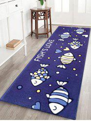 FISH LOVE Pattern Water Absorption Area Rug -