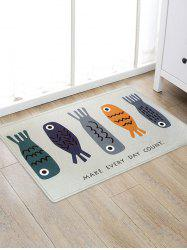 Cartoon Fishes Pattern Water Absorption Area Rug -