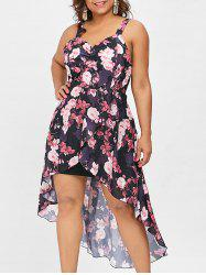 Plus Size Floral Sleeveless Overlap Dress -