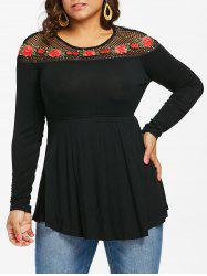 Plus Size Embroidered Fishnet Yoke Top -