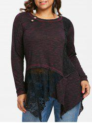 Plus Size Lace Insert Handkerchief Top -