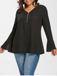 Plus Size V Neck Bell Sleeve Blouse -