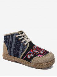Flower Embroidered Flat Heel Espadrilles Shoes -