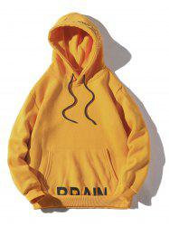 Casual Solid Letter Pouch Pocket Fleece Hoodie -