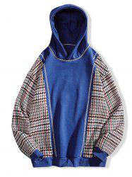 Seam Detail Plaid Patchwork Fleece Hoodie -
