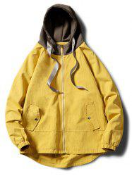 Contrast Zip Up Side Pockets Hem Curved Hooded Jacket -