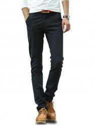 Casual Flat Front Solid Slim Fit Long Pants -