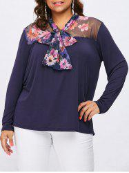 Plus Size Mesh Self Tie Neck Blouse -