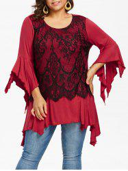 Handkerchief Sleeve Plus Size Lace Panel Asymmetrical T-shirt -