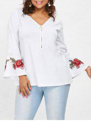 Plus Size Flared Sleeve Floral Patched Blouse -