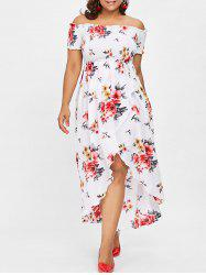 Plus Size Print Shirred Off Shoulder Dress -