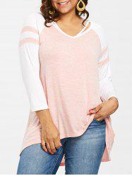 Plus Size High Low Baseball T-shirt -