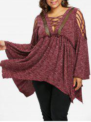 Plus Size Fishnet Trim Flare Sleeve T-shirt -