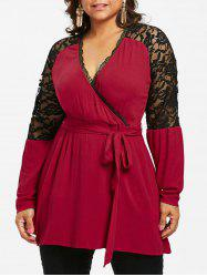 Plus Size Lace Trim Raglan Sleeve Blouse -