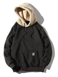 Contrast Letter Patch Detail Kangaroo Pocket Fleece Hoodie -