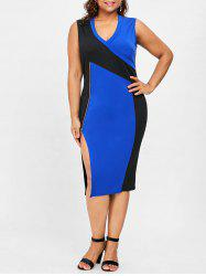 Plus Size Sleeveless V Neck Side Split Dress -