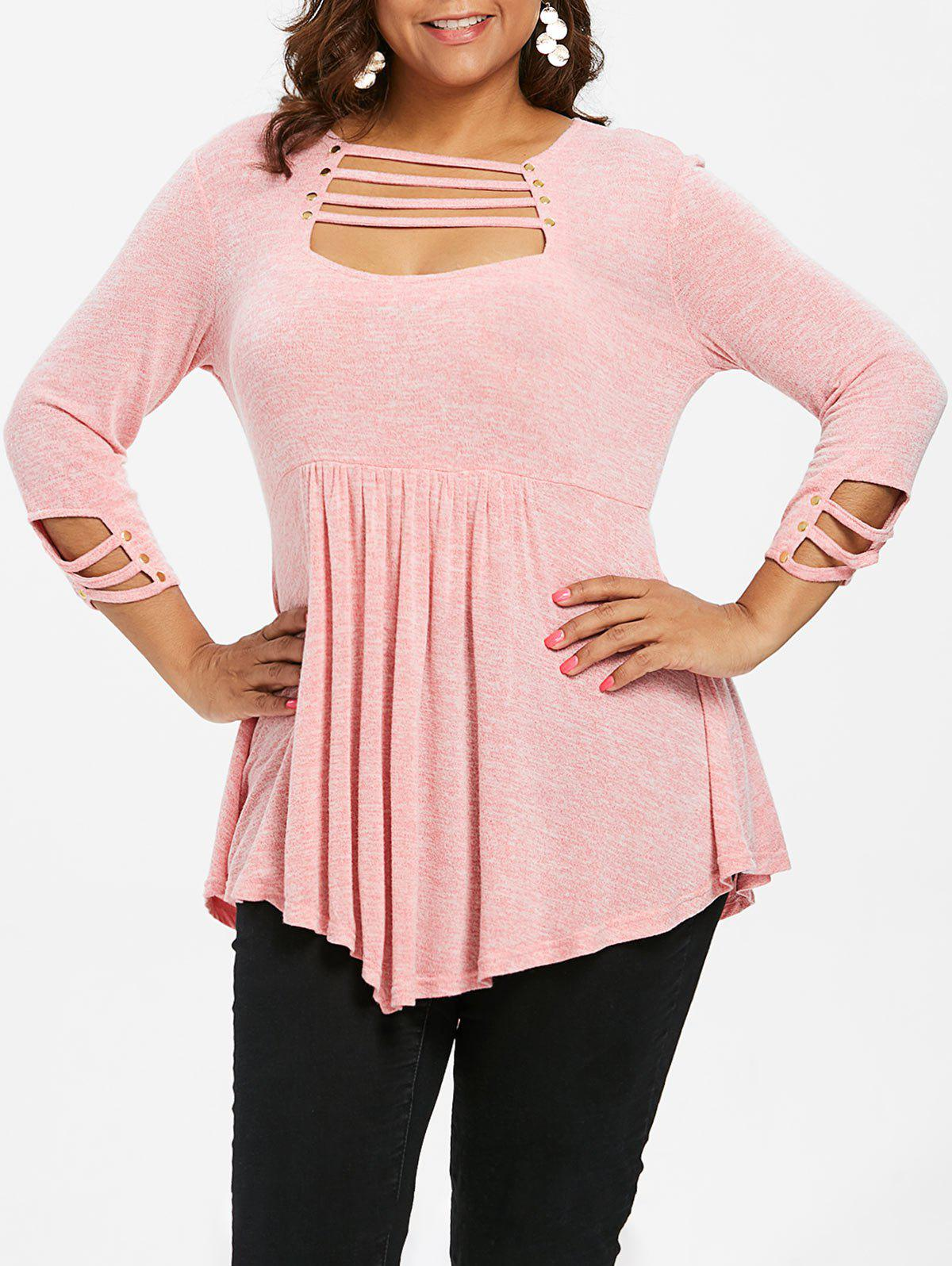 Affordable Ladder Cut Out Plus Size A Line T-shirt