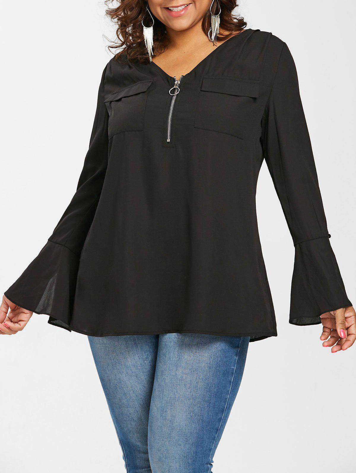 Unique Plus Size V Neck Bell Sleeve Blouse