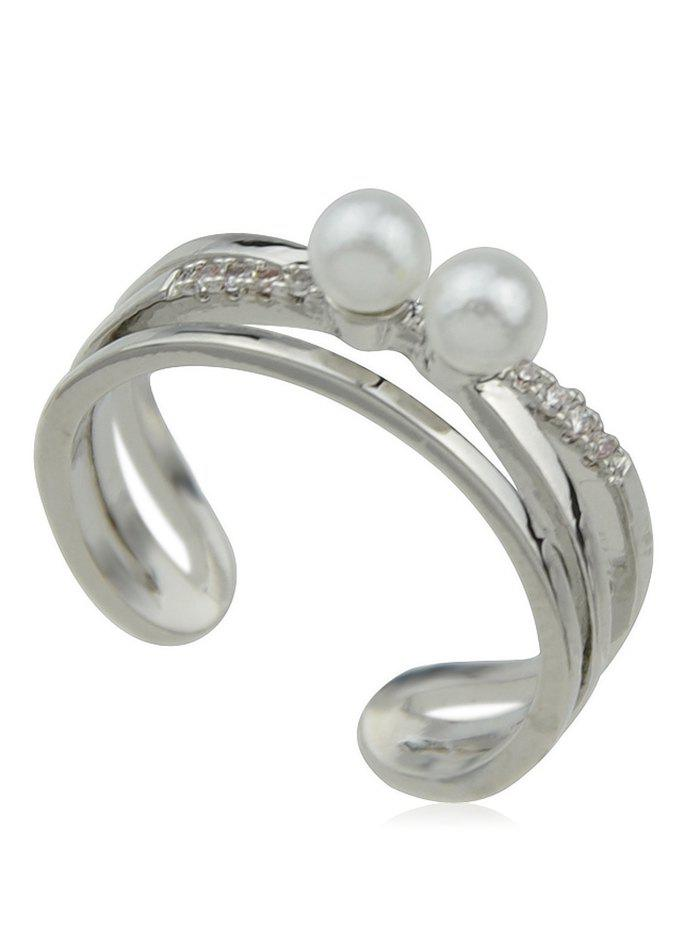 Shops Fake Pearl Hollow Alloy Cuff Ring