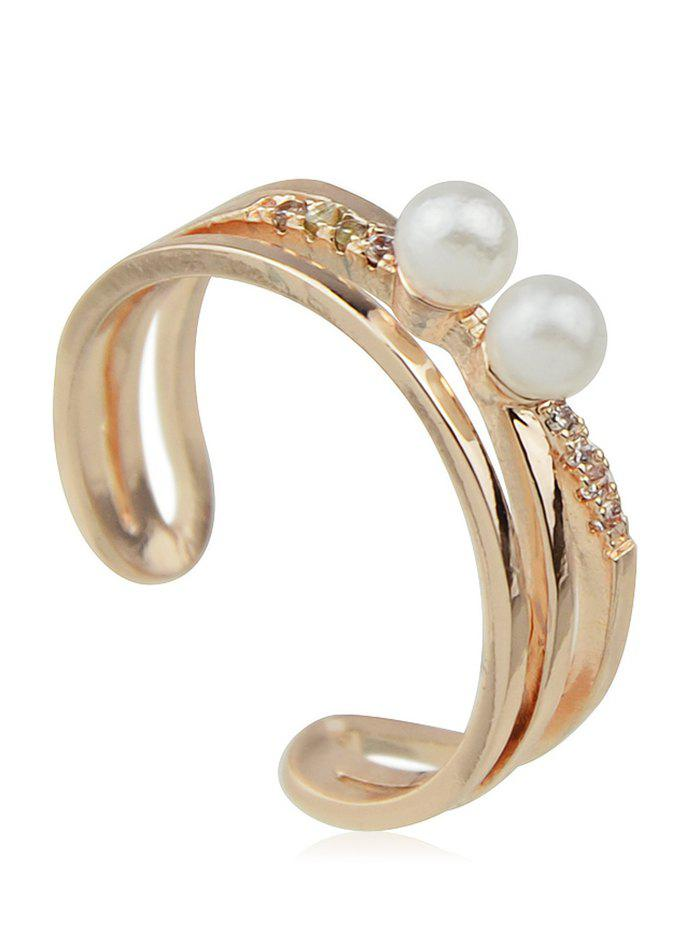 Store Fake Pearl Hollow Alloy Cuff Ring