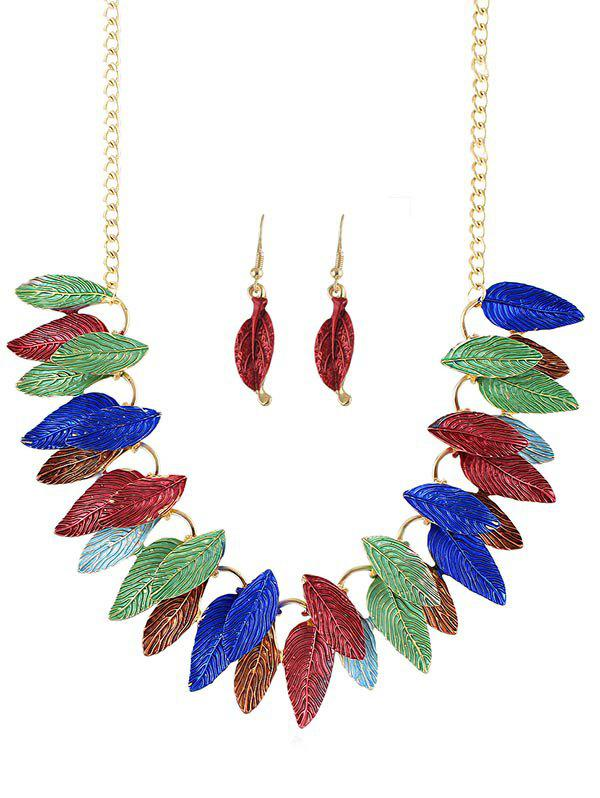 Shops Leaves Decoration Chain Necklace Earrings Set
