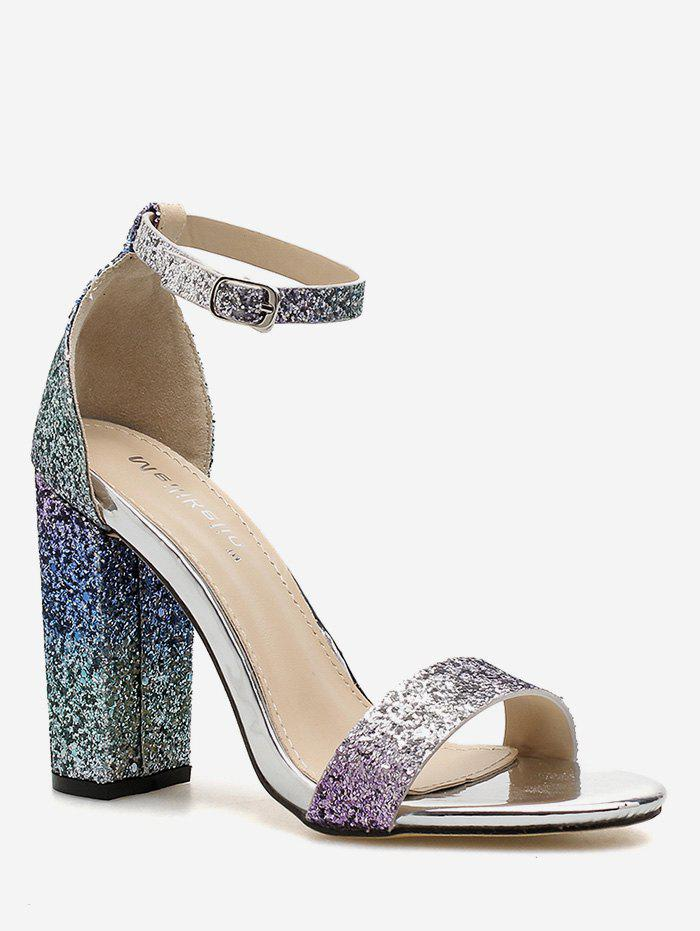Outfit Gradient Sequins Chunky Heel Party Sandals